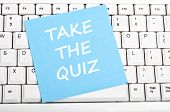foto of quiz  - Take the quiz message on keyboard - JPG