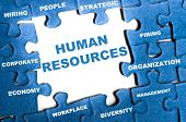 stock photo of human resource management  - Human resource blue puzzle pieces assembled - JPG