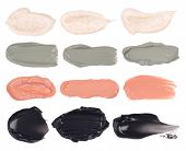 Cosmetic masks smears. Moisturizing, peeling, clay and charcoal masks isolated on a white background poster