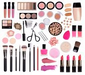 Makeup cosmetics such as eyeshadow, mascara, lipstick, eyeliner, nailpolish  and makeup accessories  poster