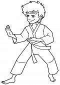 Full Length Line Art Illustration Of Determined Boy Wearing Karate Suit While Practicing Martial Art poster