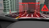 Emergency Braking Assist (eba) Sysyem To Avoid Car Crash Concept. Smart Car Technology, 3d Rendering poster