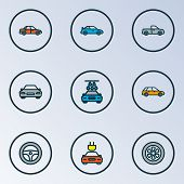 Automobile Icons Colored Line Set With Station Wagon, Sedan, Tesla And Other Auto  Elements. Isolate poster