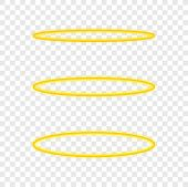 Set Halo Angel Ring . Holy Golden Nimbus Circle Isolated On Transparent Background. Vector Stock Ill poster