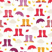 Seamless Pattern With Cloud, Rain, Leaves, Gumshoes And Umbrella On White Background. Perfect For Wa poster