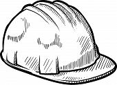 pic of osha  - Doodle style construction worker safety hardhat in vector format - JPG