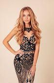 Beautiful Woman With Long Blond Hair In Luxurious Evening Dress poster