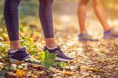 Running Sport Fitness Woman. Close Up Of Female Legs And Shoes. Young Girl Athlete Fitness Runner Ru poster