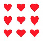 Valentine Card Love Hearts Vector. Social Nets Like Red Heart Web Buttons Isolated On White Backgrou poster