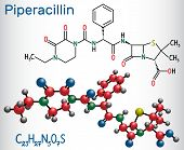 Piperacillin Molecule. It Is Antibiotic Drug. Structural Chemical Formula And Molecule Model. Vector poster
