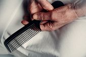 Comb For Old Woman Hair, Hair Brush With Old Hands, Brushes And Scissors. Loneliness And Nursing Hom poster