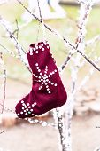 Gift Woolen Socks . Christmas Stockings In Winter Nature . The Sock Hanging On A Branch . poster