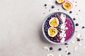 Tasty Appetizing Smoothie Acai Bowl Made From Blackberries And Wild Berries, Decorated With Cut Pass poster