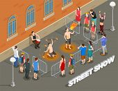 Street Performance Isometric Composition With Fire Show Under Rhythm Of Drum And Viewers Vector Illu poster