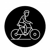 Cycling Trip Black Icon, Vector Sign On Isolated Background. Cycling Trip Concept Symbol, Illustrati poster