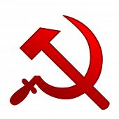 stock photo of hammer sickle  - red sickle and hammer - JPG
