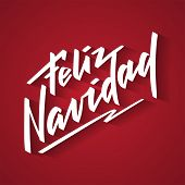 Feliz Navidad - Merry Christmas From Spanish. Hand-written Text, Words, Typography, Calligraphy, Let poster