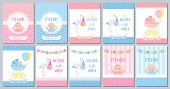 Baby Shower Boy Girl Card. Vector. Baby Girl Boy Design. Cute Pink Blue Poster. Birth Party Backgrou poster