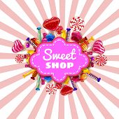 Sweet Shop Candy Template Set Of Different Colors Of Candy, Candy, Sweets, Chocolate Candy, Jelly Be poster