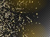Modern Tinsel Confetti Isolated, Golden Celebration Foil. Cool Luxury Christmas, New Year, Birthday  poster