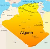 image of algiers  - Abstract vector color map of Algeria country - JPG