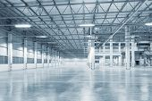 Empty Factory Building Or Warehouse Building With Concrete Floor For Industry Background. poster