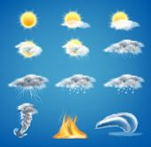 Vector 3d Realistic Set Of Weather Forecast Icons For Web Interfaces Or Mobile Apps, Isolated On Blu poster