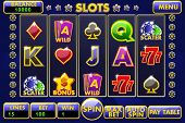 Vector Interface Slot Machine. Complete Menu Of Graphical User Interface And Full Set Of Buttons For poster