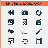 Multimedia Icons Set With Jack, Previous, Enlarge And Other Audio Elements. Isolated Vector Illustra poster