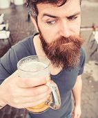 Guy Having Rest With Cold Draught Beer. Draught Beer Concept. Man With Beard And Mustache Holds Glas poster