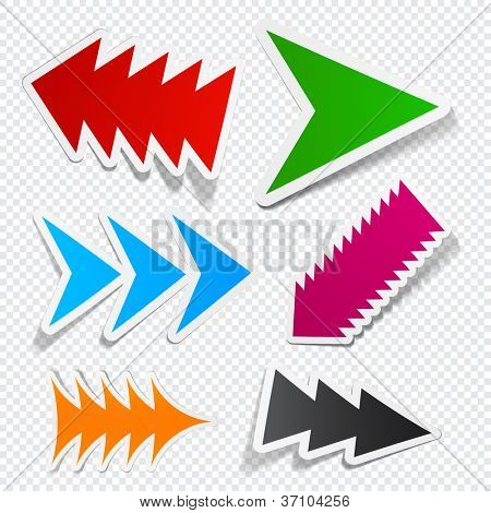 Sticky collection of toothy arrows. Vector EPS10 illustration.
