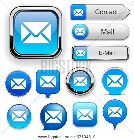 Mail blue design elements for website or app. Vector eps10.