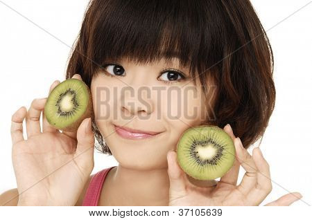 beautiful woman face with kiwi