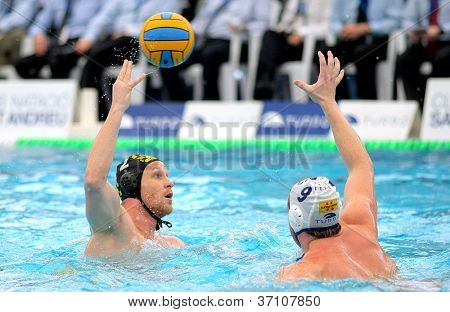 BARCELONA - FEB, 19: Slovenian waterpolo player Matej Nastran of CN Sabadell in action during the Spanish kings cup Final match in Sant Andreu swimming pool, February 19, 2012 in Barcelona, Spain