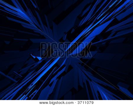Fantasy Bue Futuristic Construction In Dark Background