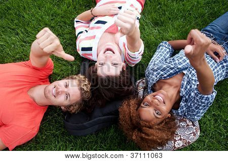 Group Of Happy College Students In Grass