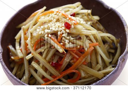 kinpira gobo, sauteed greater burdock root and carrot, japanese cuisine