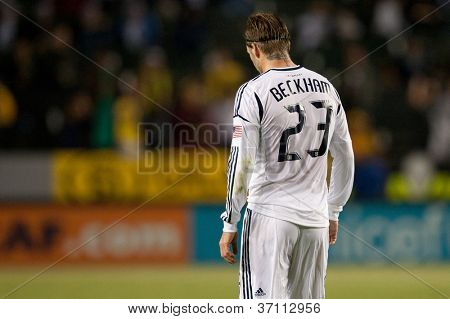 CARSON, CA - MARCH 14: David Beckham during the CONCACAF match between the LA Galaxy and Toronto FC on March 14, 2012 at the Home Depot Center in Carson, Ca.