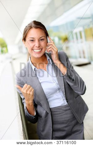 Successful businesswoman with happy look