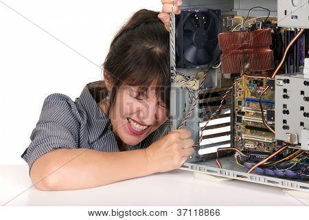 displeased woman with broken computer