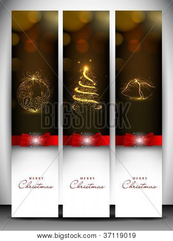 Merry Christmas website banner set decorated with Xmas tree, jingle bell, snowflakes and lights. EPS 10.