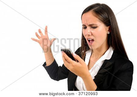 Mulher de negócios jovem isolado gritando no telefone