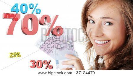 Happy woman holding euro money against percentage, isolated on white background