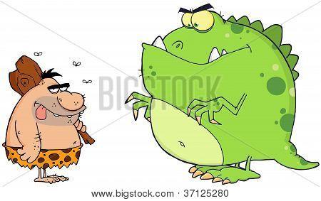 Caveman And Angry Dinosaur Cartoon Characters