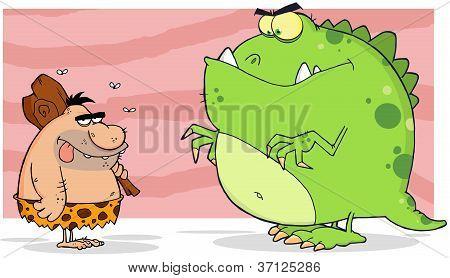 Caveman And Angry Dinosaur