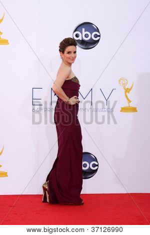 LOS ANGELES - SEP 23:  Tina Fey arrives at the 2012 Emmy Awards at Nokia Theater on September 23, 2012 in Los Angeles, CA