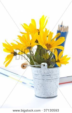 Autumn Flowers With Book And Pencils