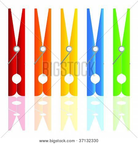 Clothespin In Color Vector Illustration
