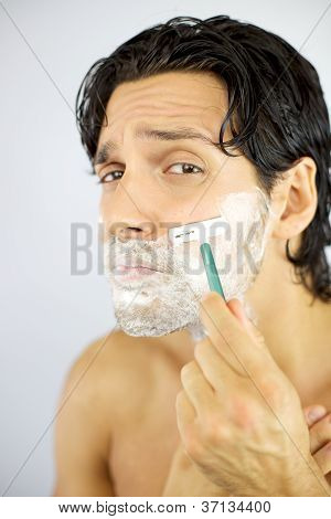 Handsome Cool Man Scared Of Shaving Face