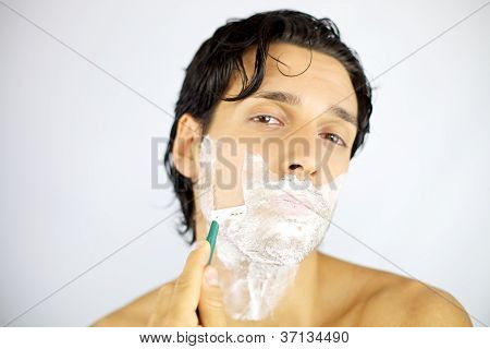 Young Handsome Man Shaving Z